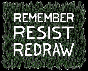 Remember | Resist | Redraw logo