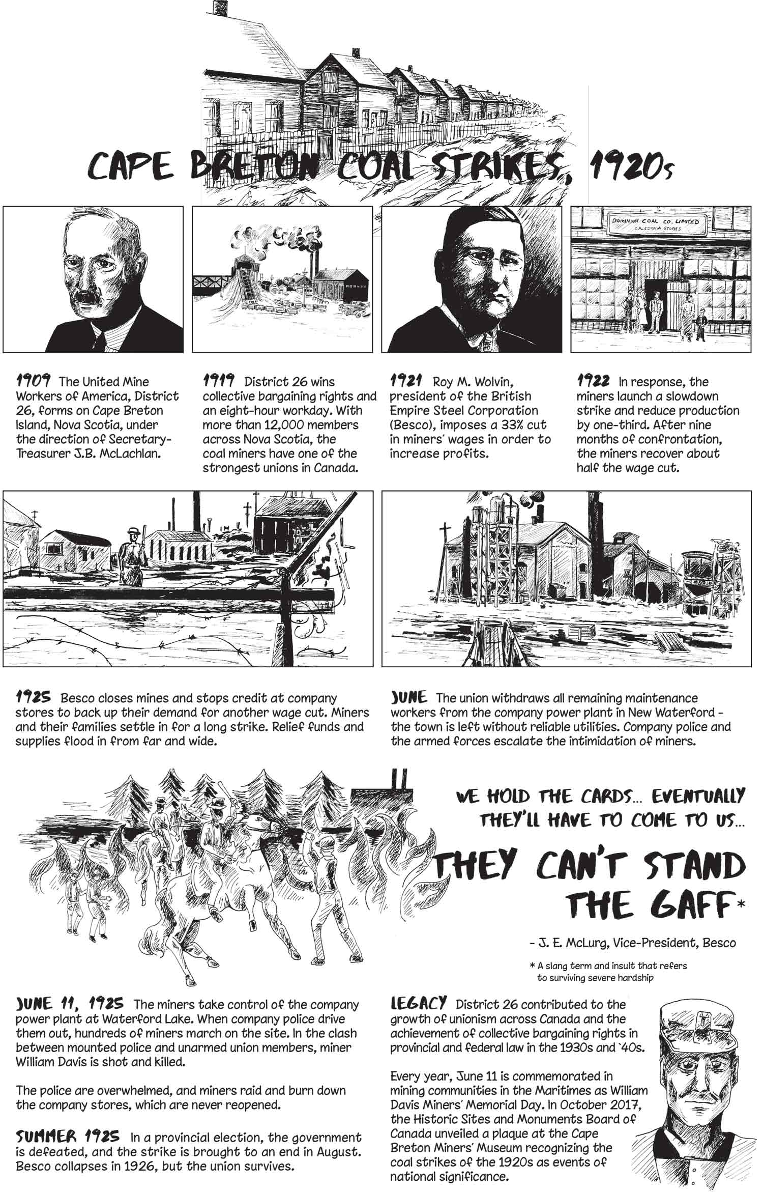 An illustrated black and white poster consisting of a series of comics panels depicting coal miners' struggles in 1920s Cape Breton.