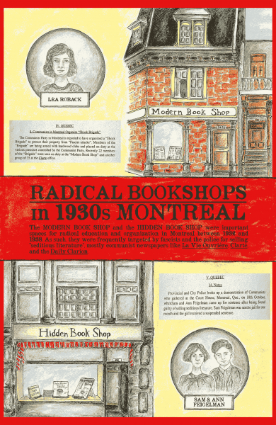 An illustrated poster with images of two radical bookstores and communists in 1930s Montreal
